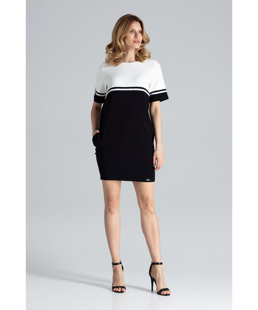 Image for Black Comfortable Cotton Short-Sleeved Mini Dress