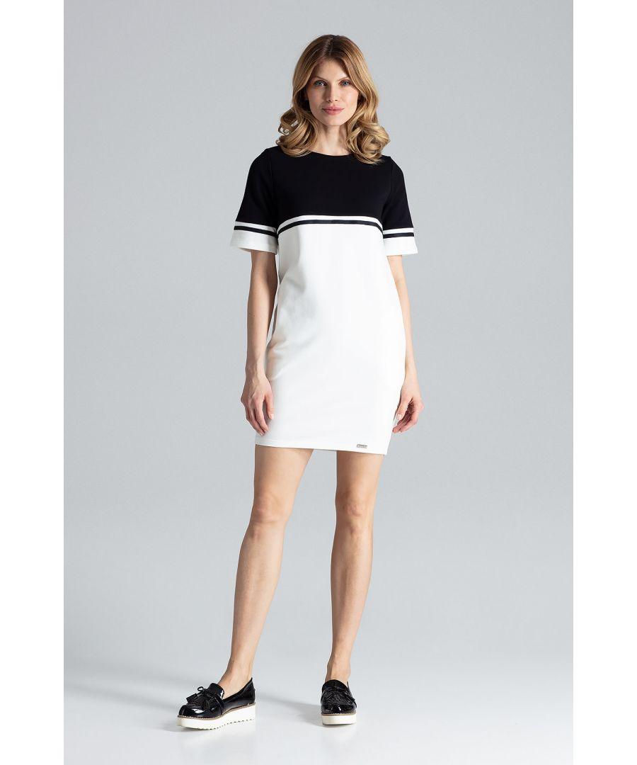 Image for Black & White Comfy Cotton Short-Sleeved Mini Dress