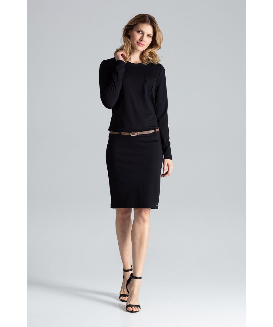 Image for Comfortable long sleeve dress with U-neck and hip belt