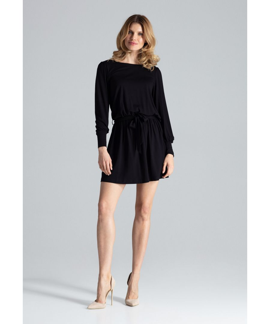 Image for Elegant dress with long sleeves perfectly shapes and emphasizes the silhouette