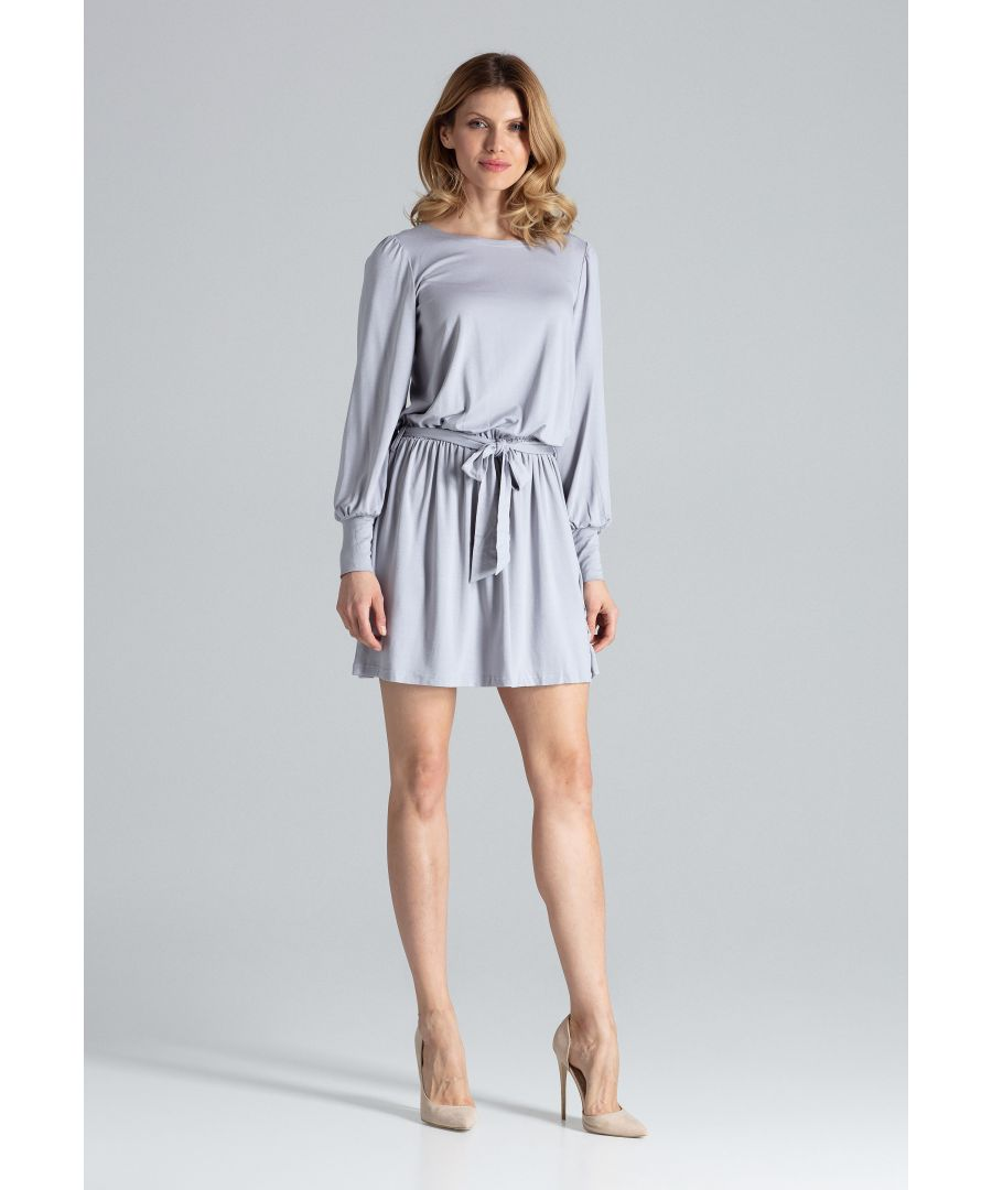 Image for Grey Elegant Silhouette Dress With Long Sleeves