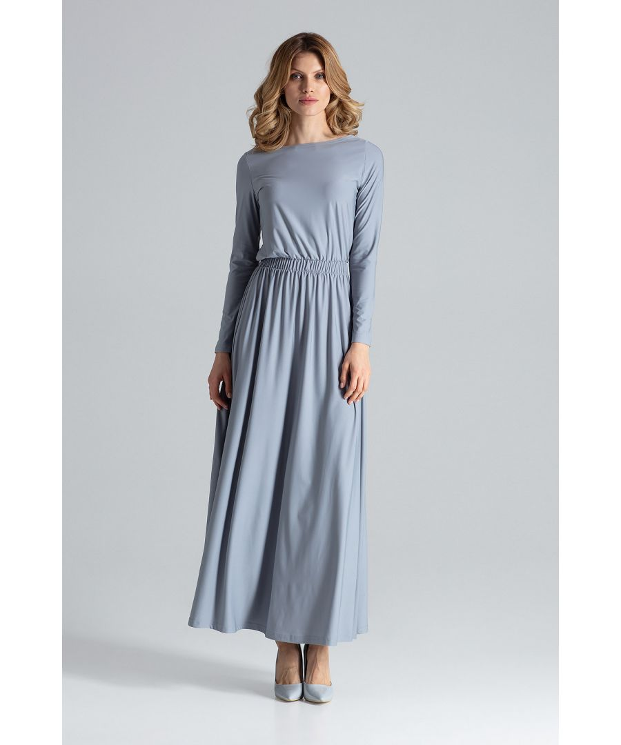 Image for Grey Long Sleeve Maxi Dress