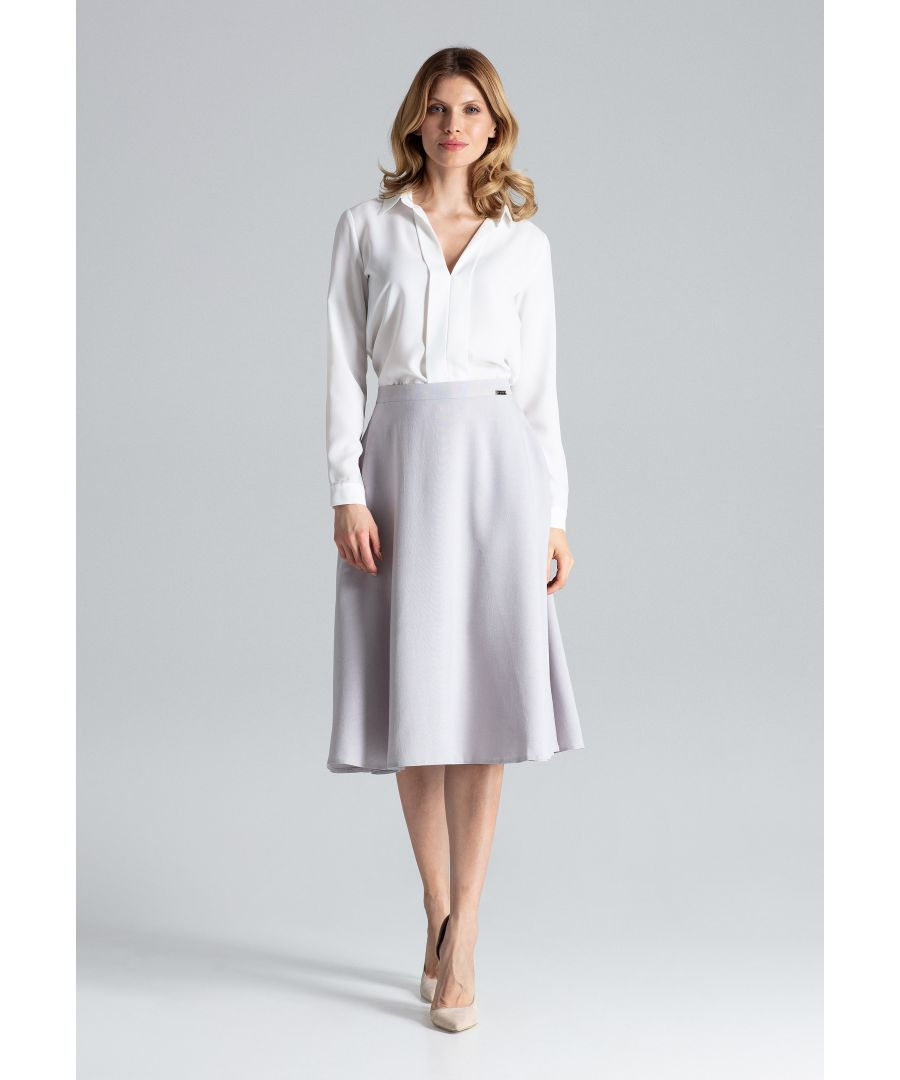Image for Grey Flared Belt Skirt
