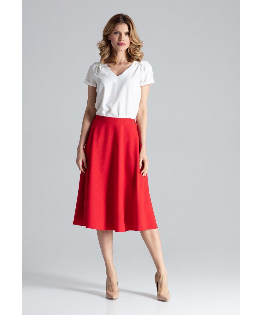 Image for Red Flared Belt Skirt