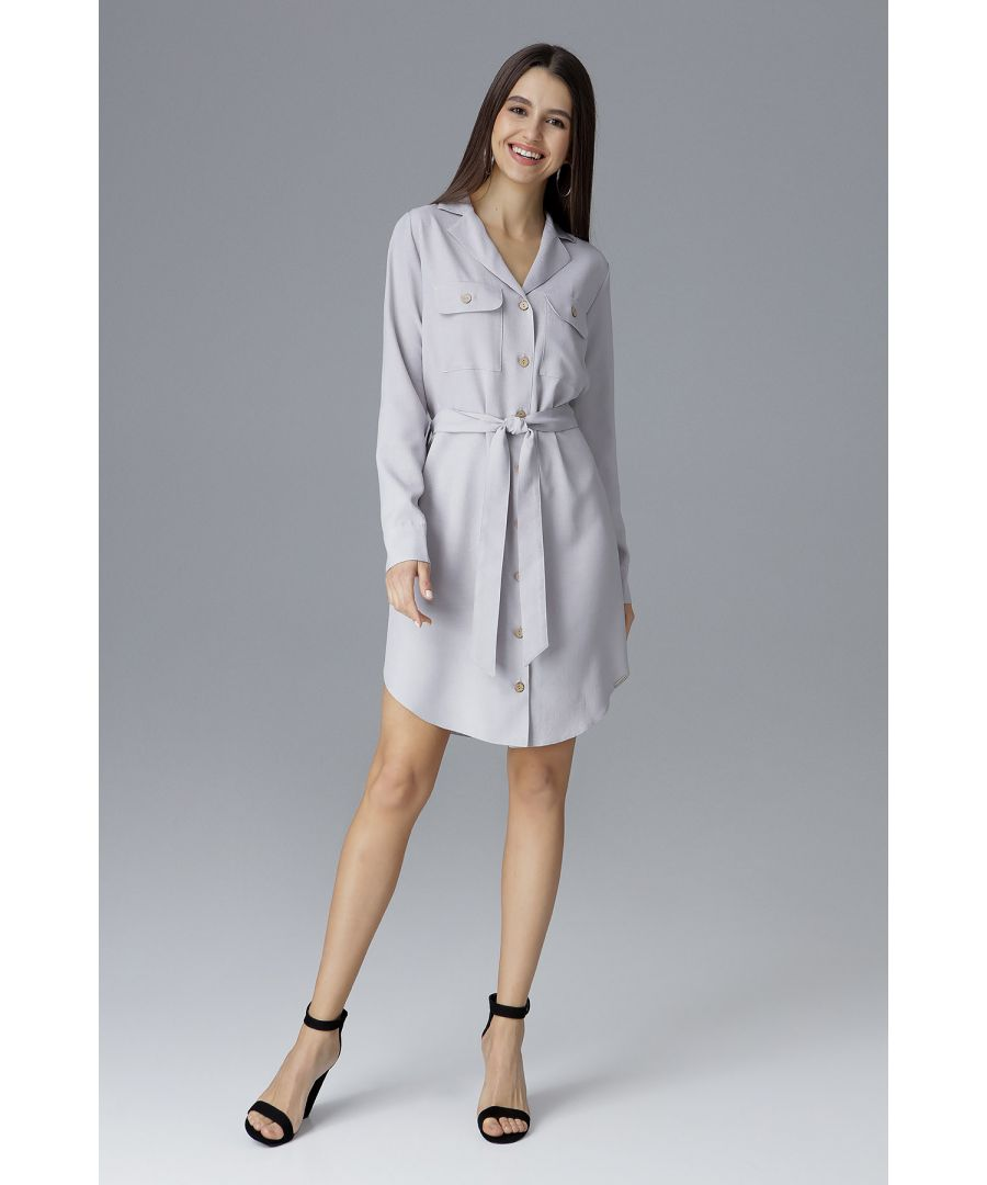Image for Grey Tied Shirt Dress