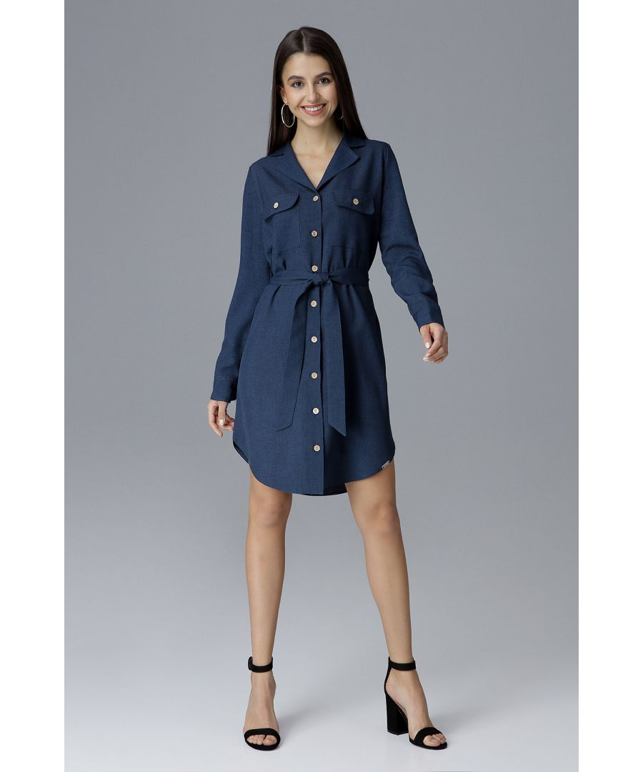 Image for Navy Leeway Waist-Tied Shirt Dress