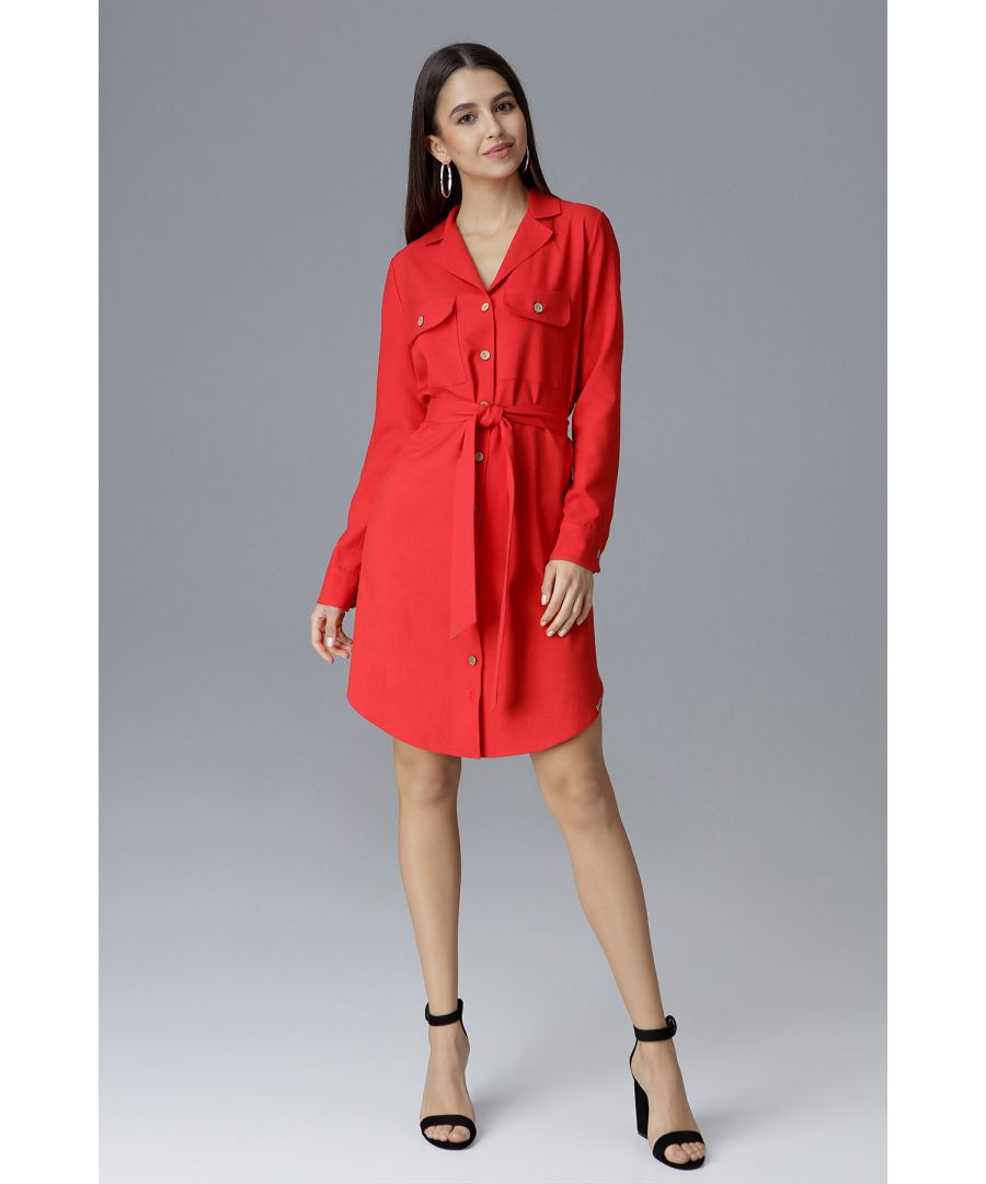 Image for Red Waist-Tied Shirt Dress