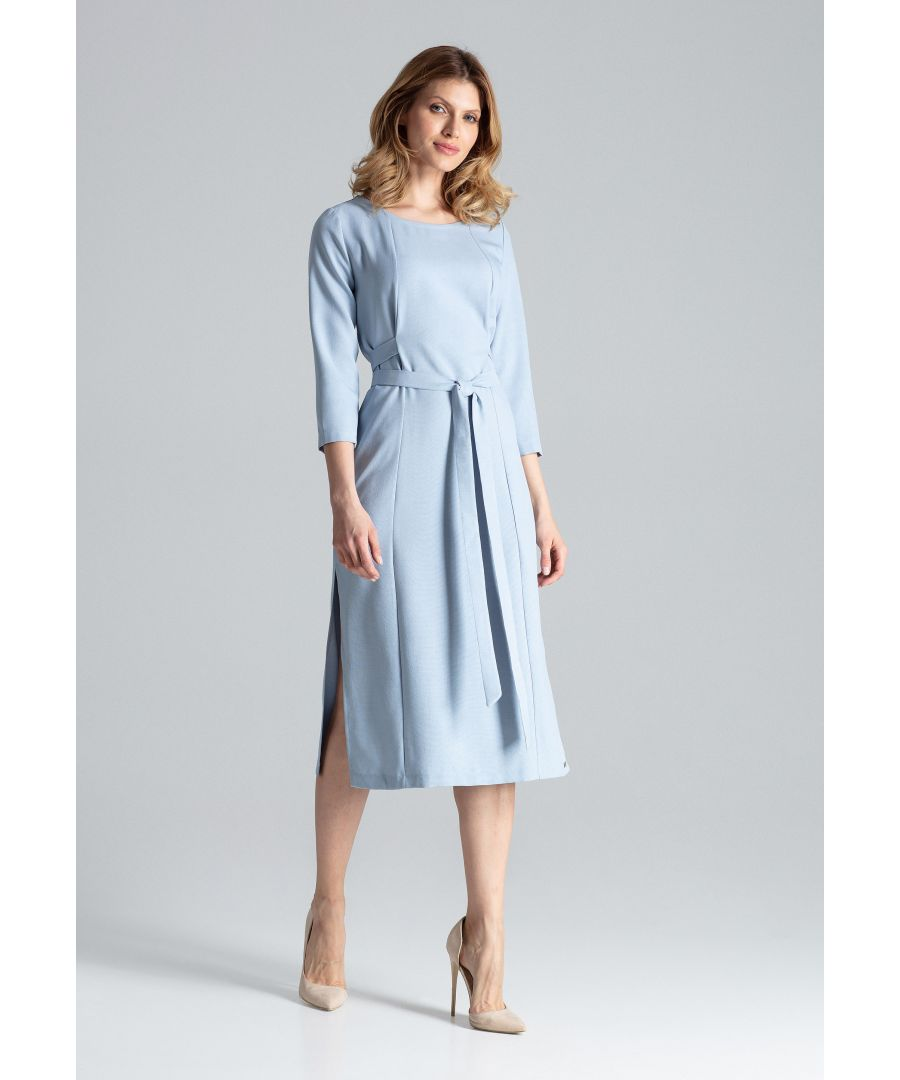 Image for Blue Midi Dress With 3/4 Sleeves