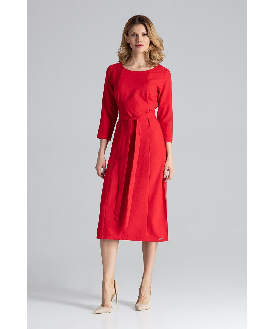 Image for Red Midi Dress With 3/4 Sleeves