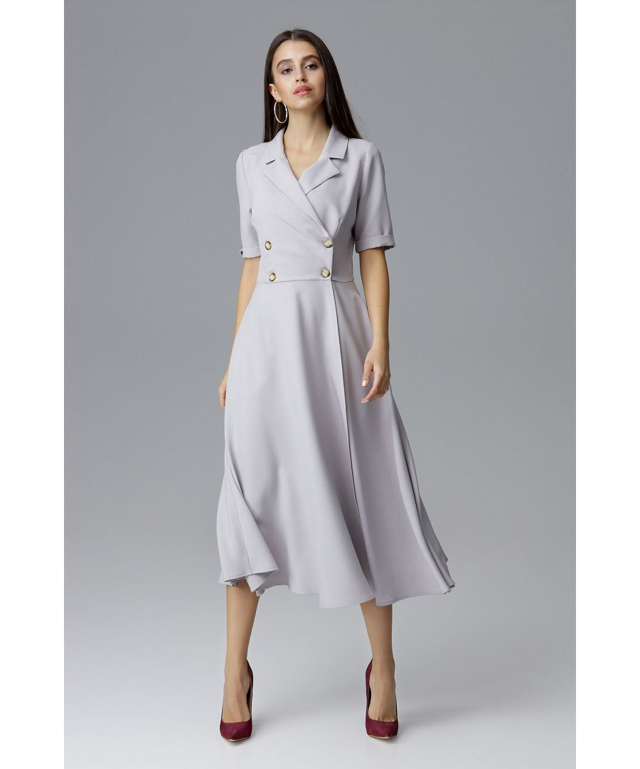 Image for Grey Double-Breasted Midi Dress