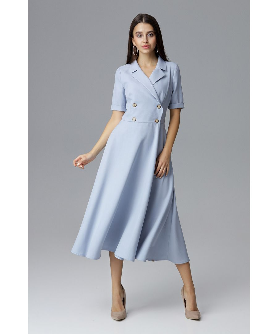 Image for Blue Double-Breasted Midi Dress