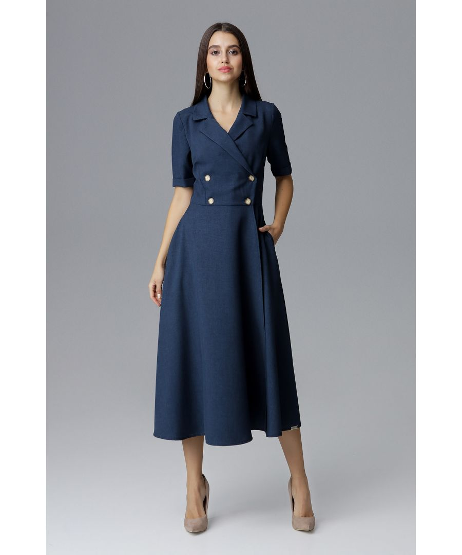 Image for Navy Double-Breasted Midi Dress