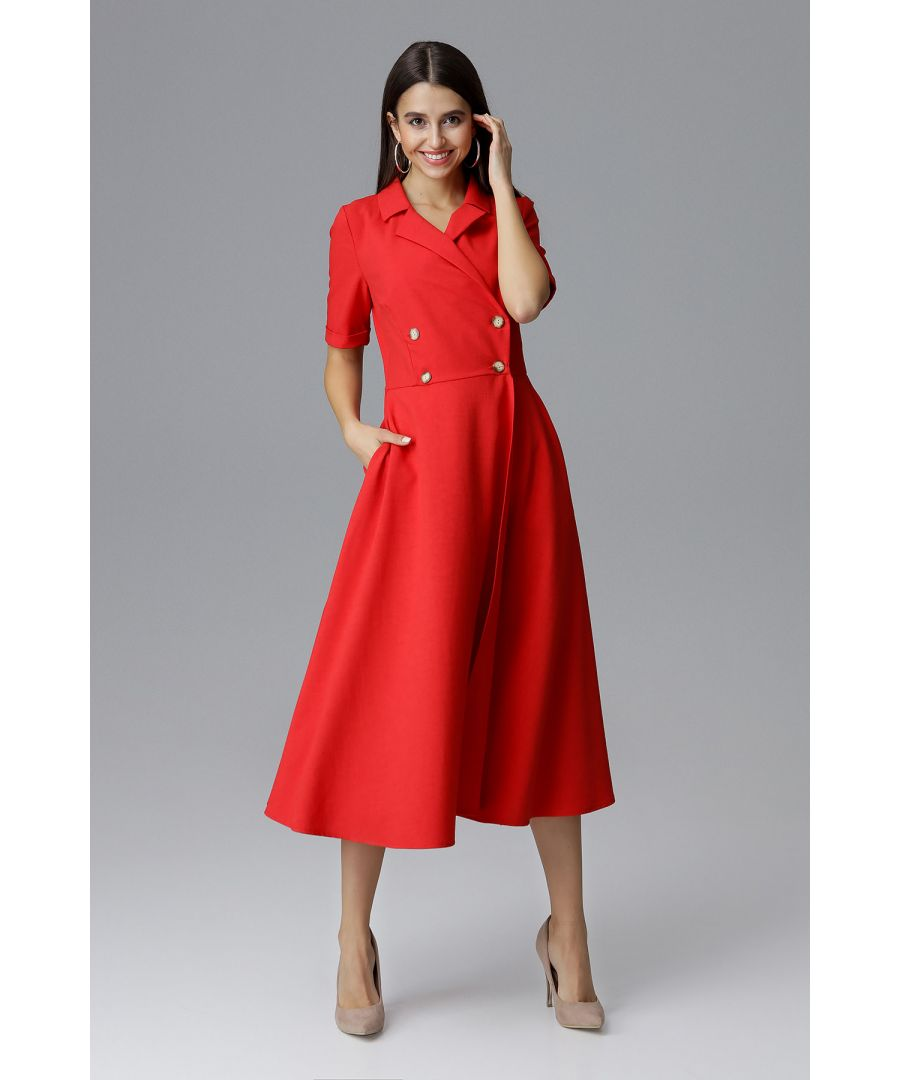 Image for Red Midi Double-Breasted Dress