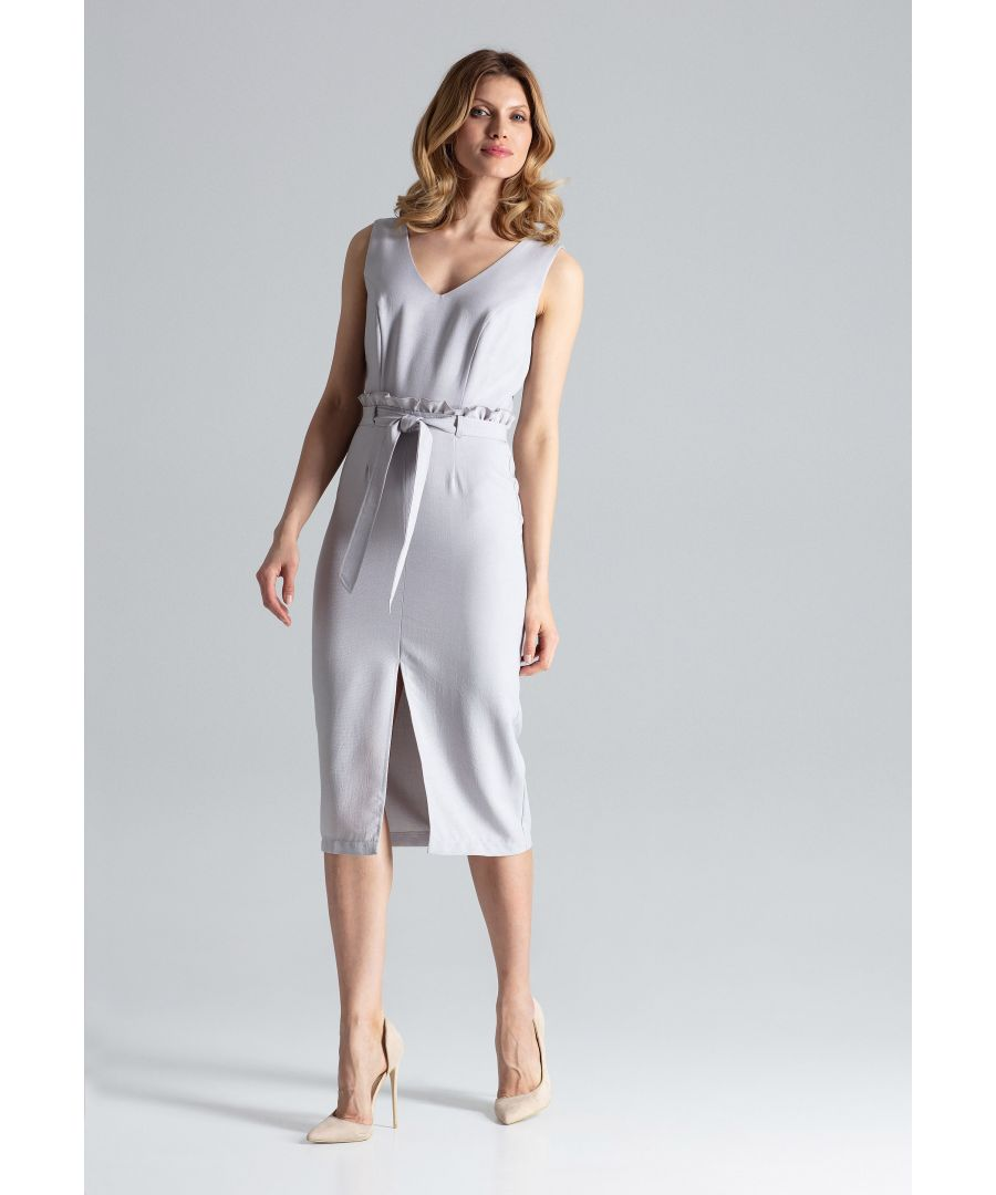 Image for Grey Fitted Midi Sleeveless Dress