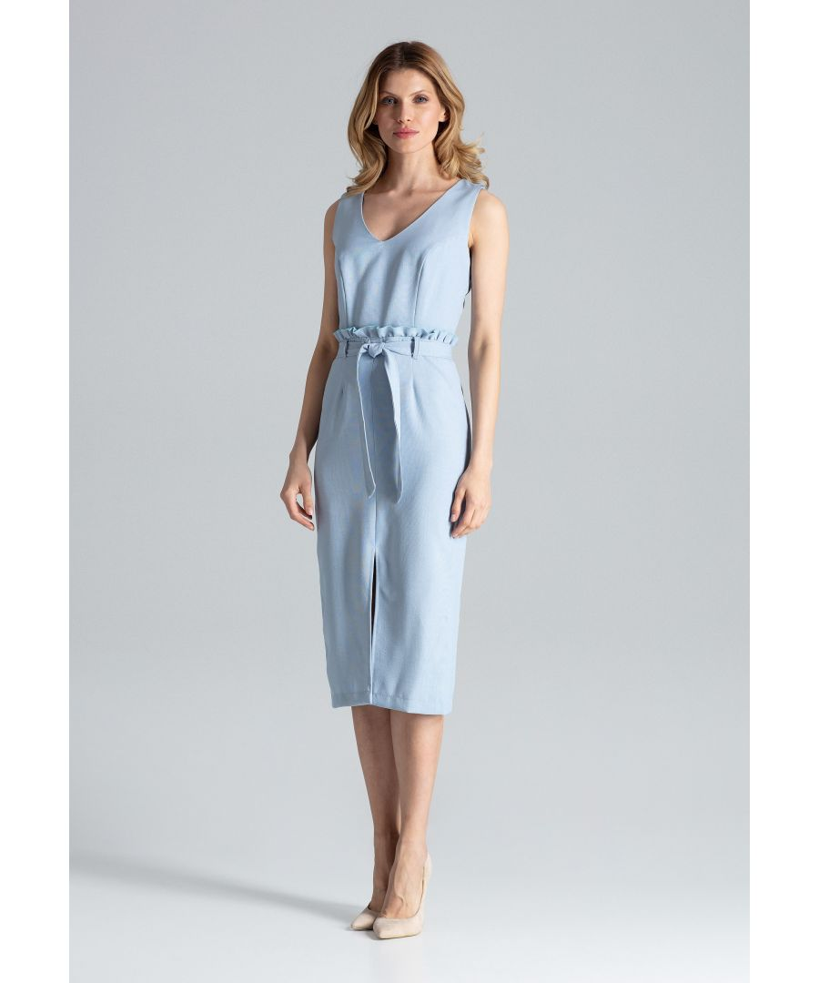 Image for Blue Fitted Sleeveless Midi Dress