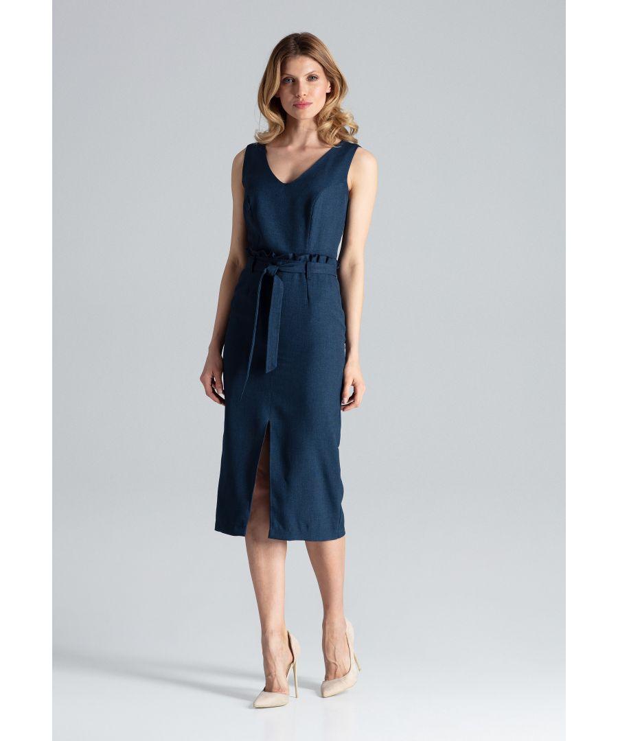 Image for Navy Sleeveless Midi Dress