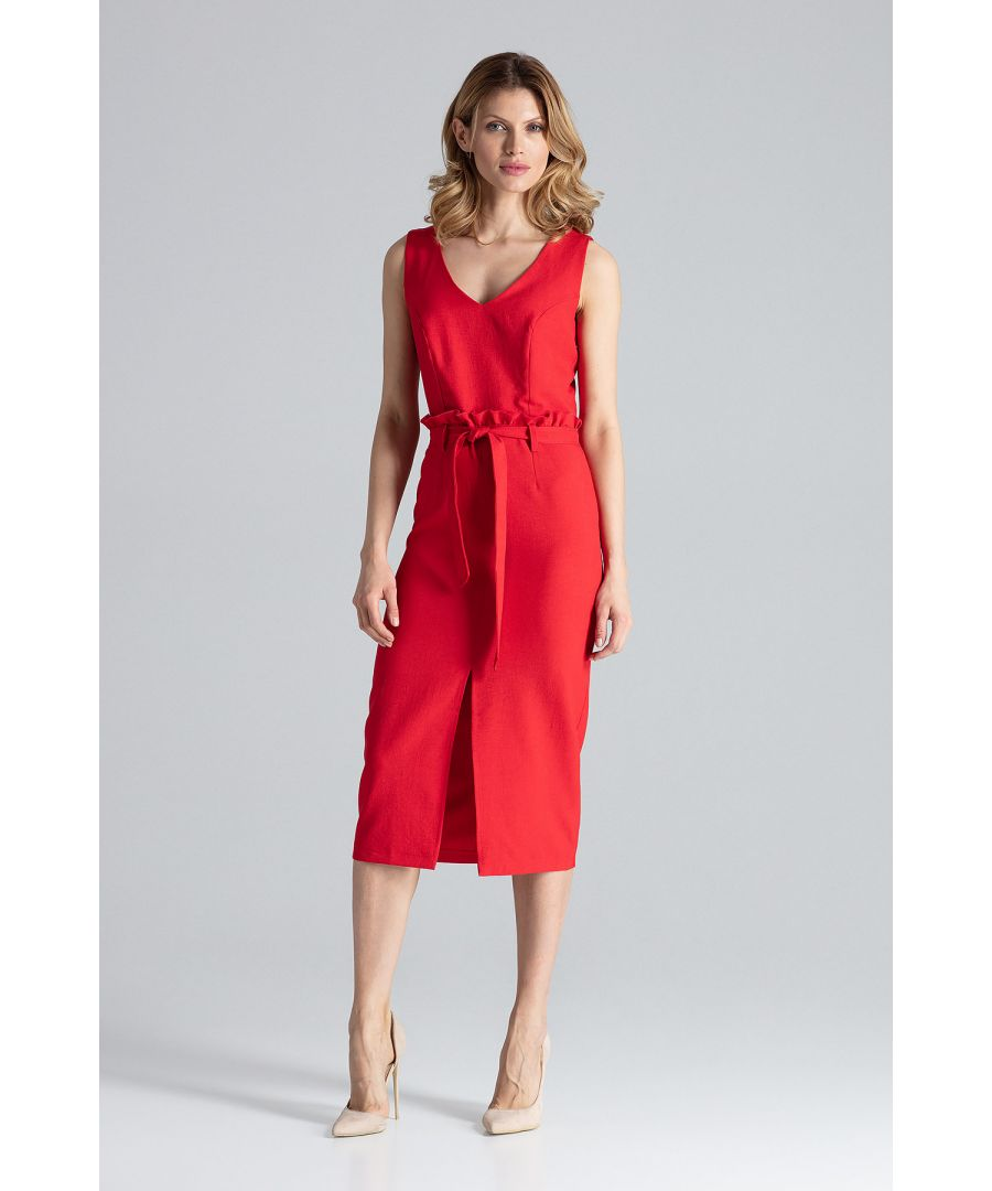 Image for Red Midi Fitted Sleeveless Dress