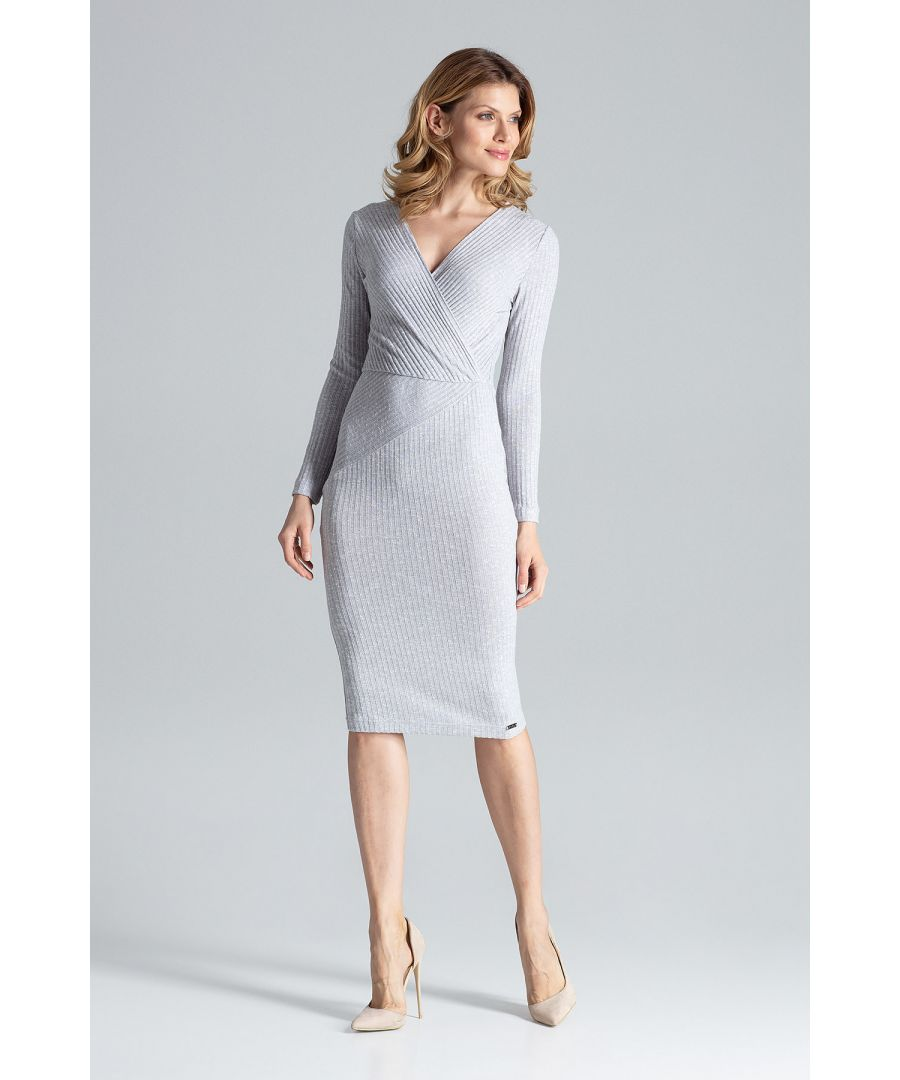 Image for Grey Fitted Long-Sleeve Midi Dress