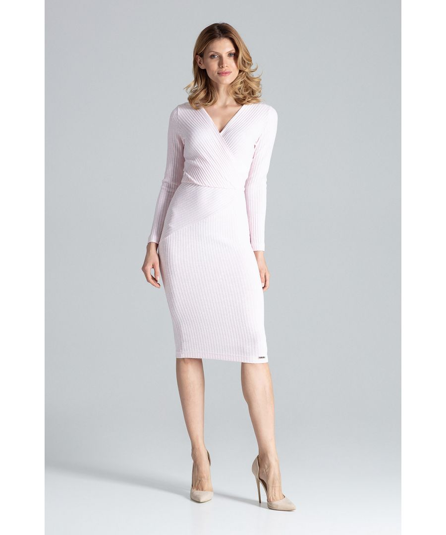 Image for Pink Fitted Midi Dress With Long Sleeves