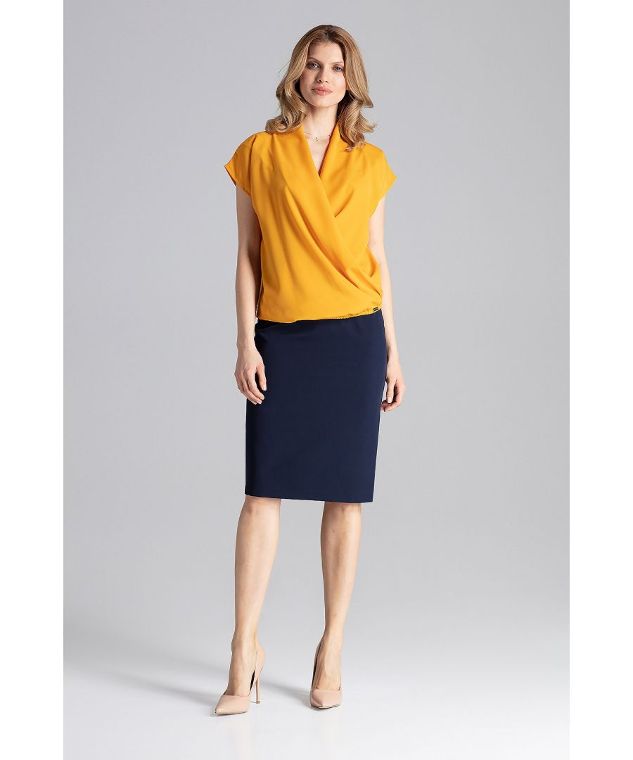 Image for Mustard Blouse With A Short Sloping Sleeve