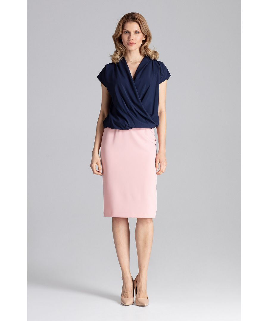 Image for Navy Blouse With A Short Sleeve