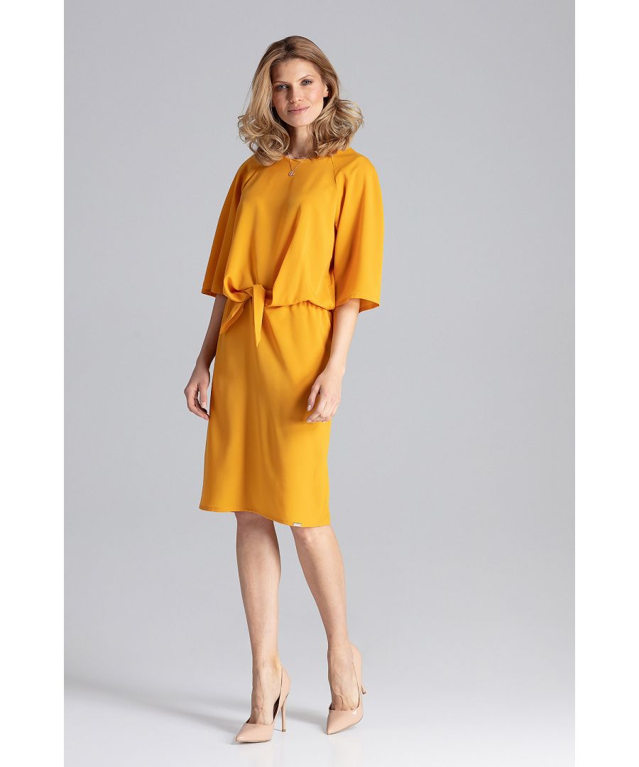 Image for Mustard Midi Dress With A Round Neckline