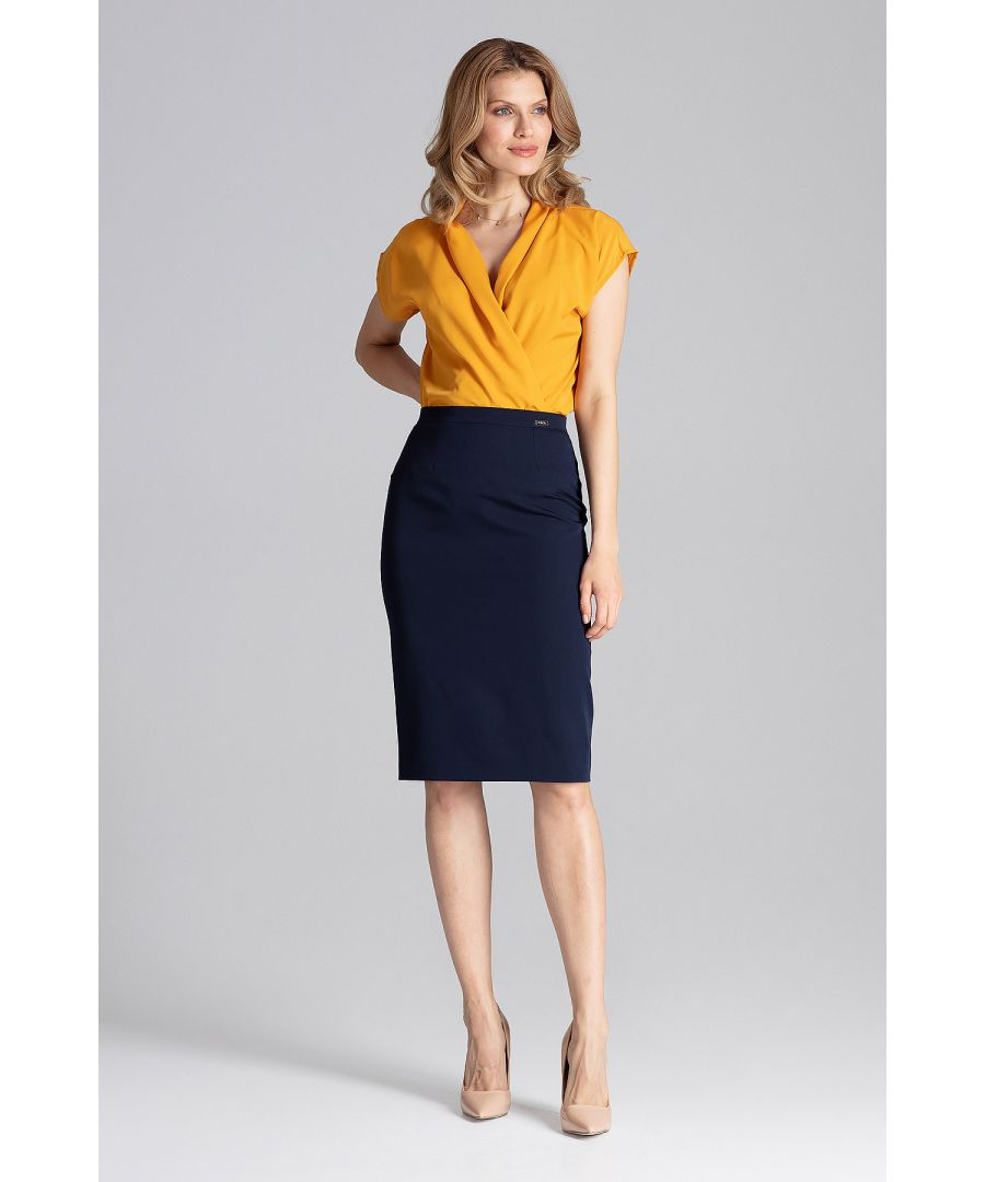 Image for Navy Midi Pencil Skirt