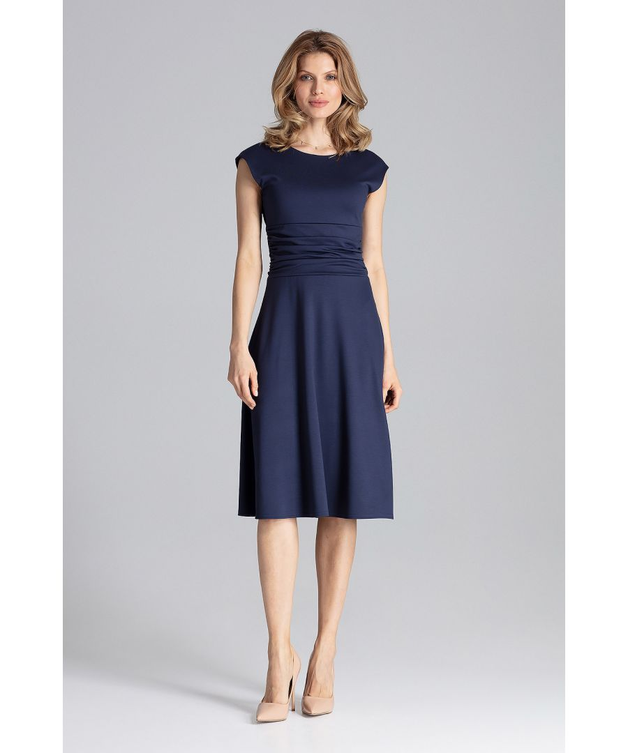 Image for Navy Cocktail Midi Dress