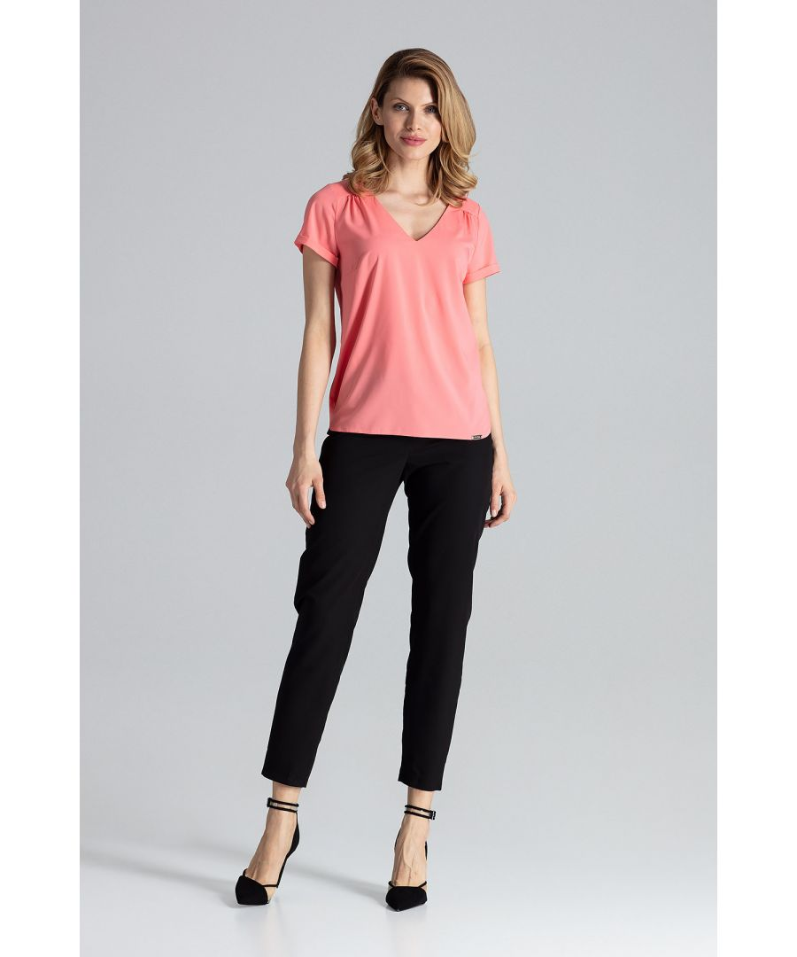Image for Coral Short-Sleeved Blouse With V-Neck