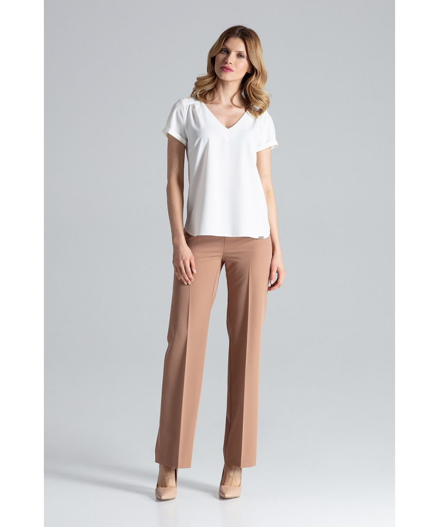 Image for Short-sleeved blouse with v-neckline