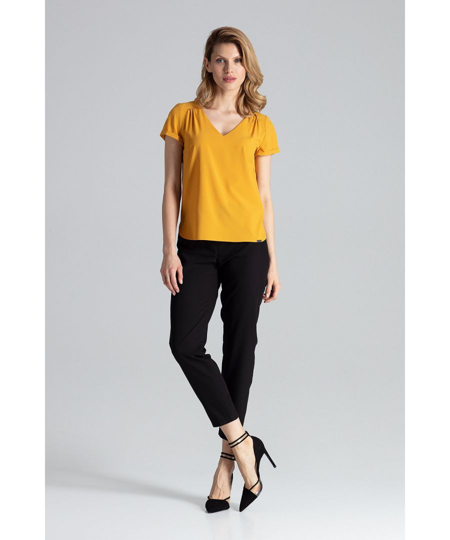 Image for Mustard Short-Sleeved Blouse With V-Neckline