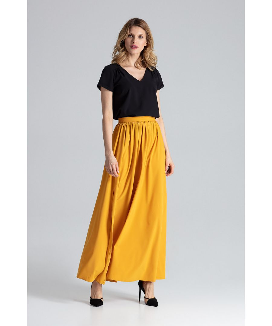 Image for Mustard Maxi Skirt With Side Slits