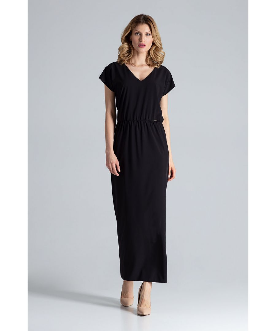 Image for Maxi, light and leeway V-neckline dress with short sleeves