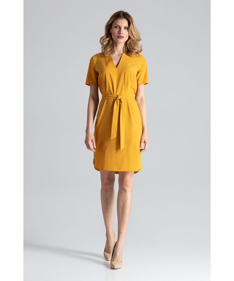Image for Mustard Behind The Knee Dress