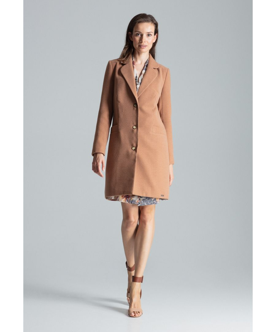 Image for Beige Classic Three-Button Coat