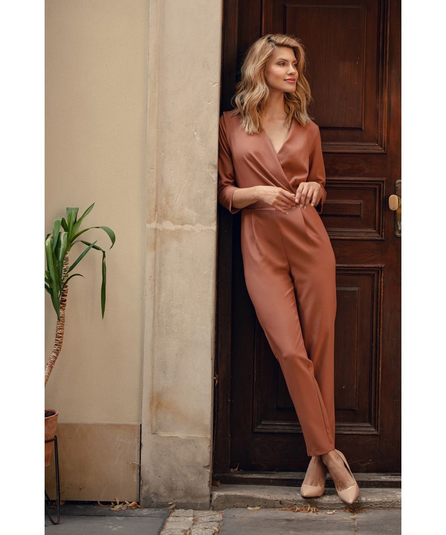 Image for Brown Envelope-Neck Jumpsuit