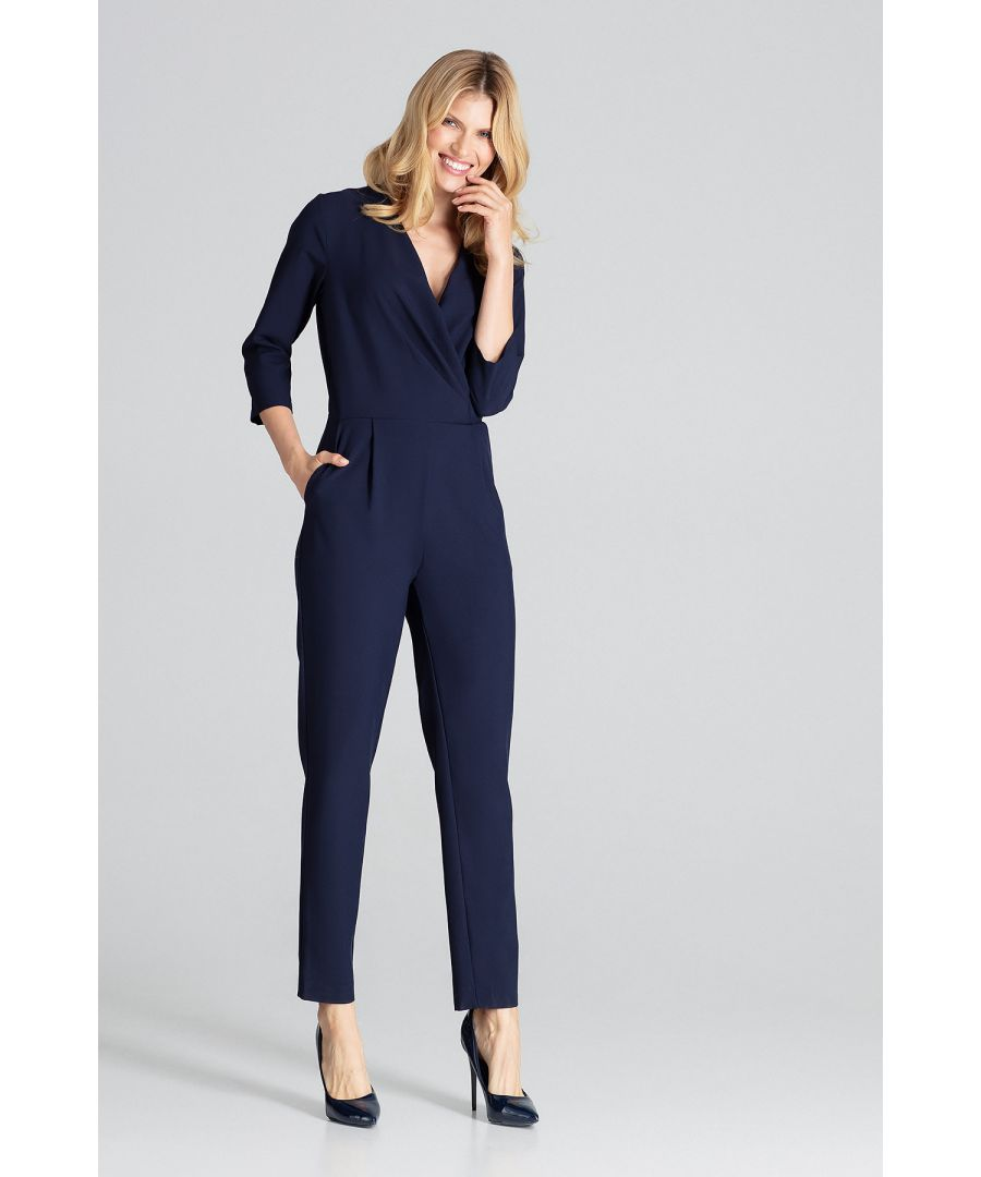 Image for Navy Jumpsuit With 3/4 Sleeves