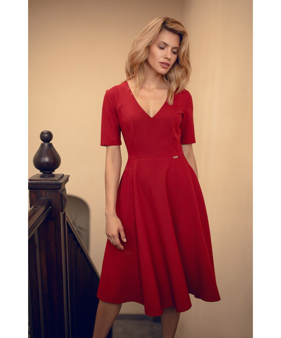 Image for Red Deep Red Midi Dress