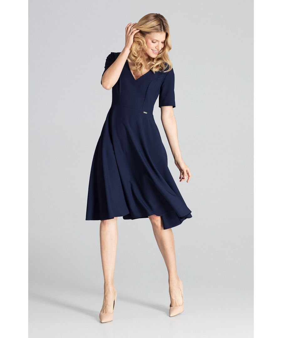 Image for Navy Midi Dress With Short Sleeves