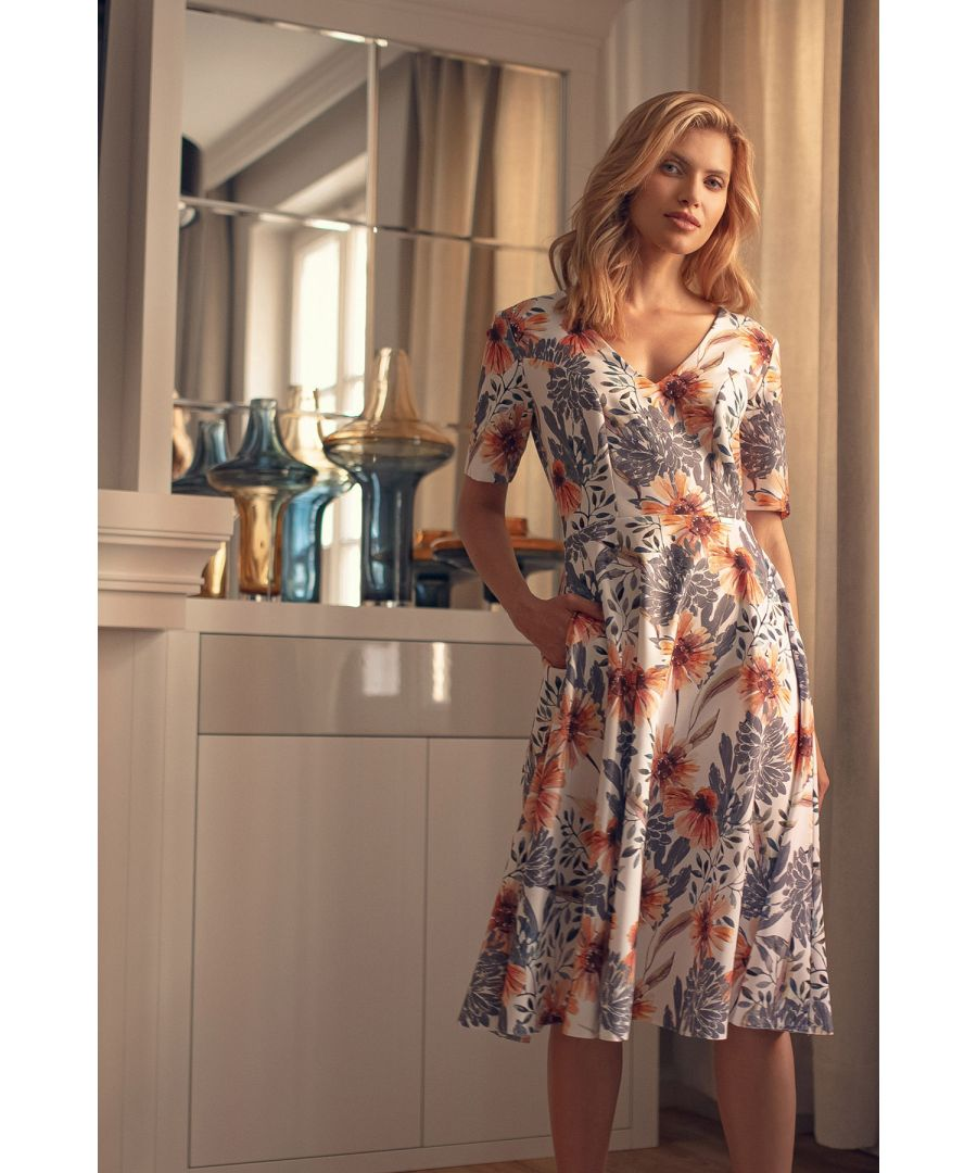 Image for Print Midi Dress With Short Sleeves
