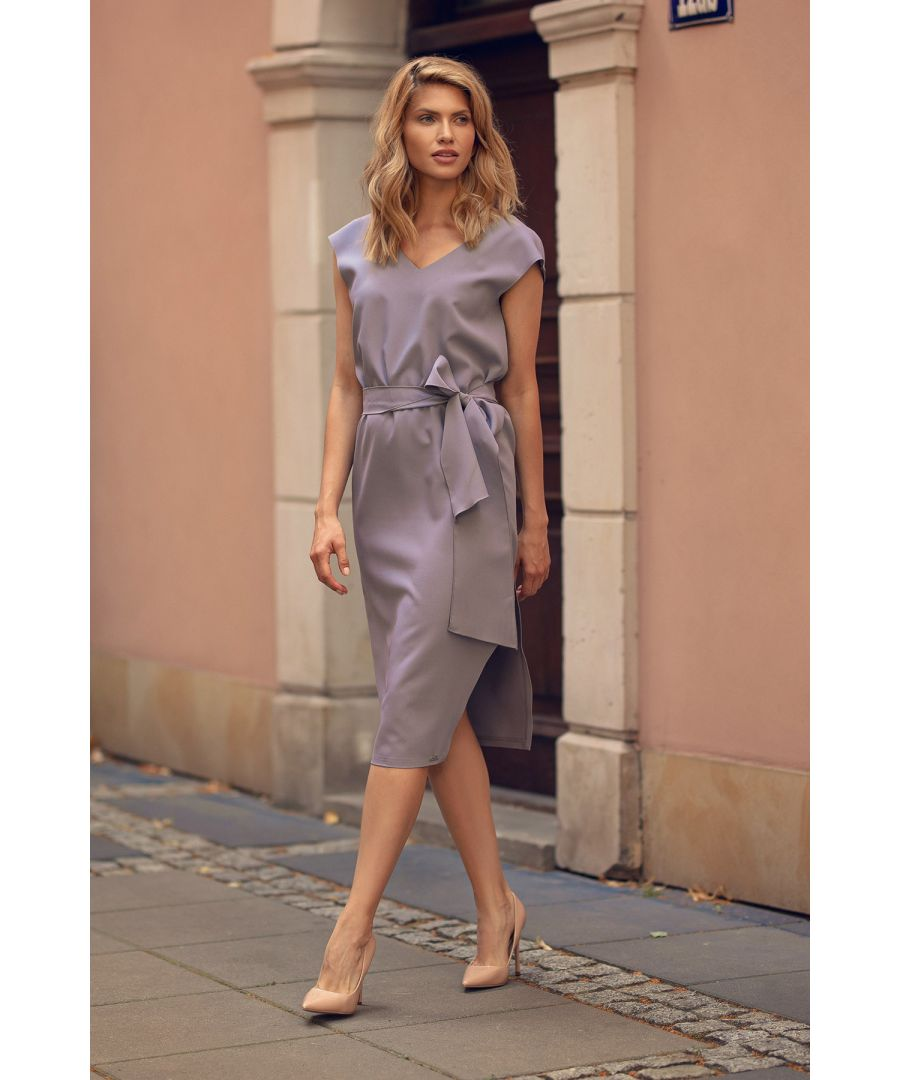 Image for Grey V-Neck Midi Dress