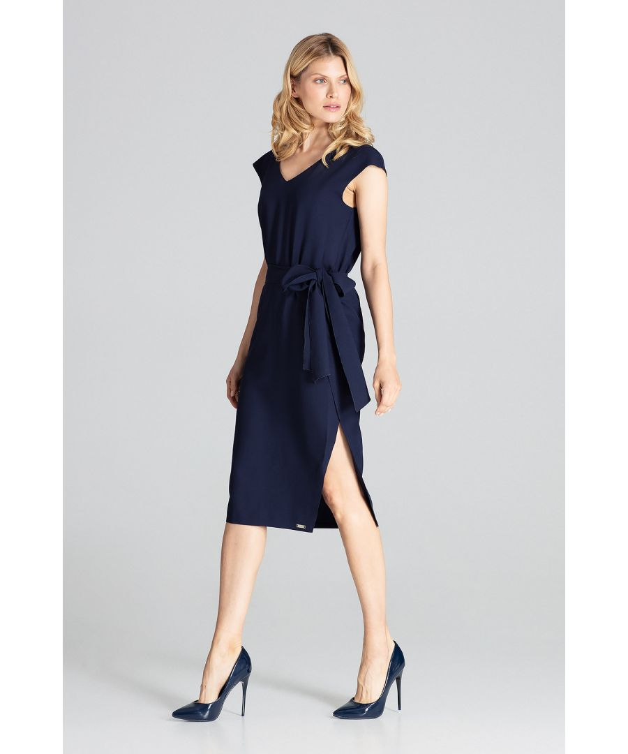 Image for Navy Sleeveless Midi Dress With V-Neckline