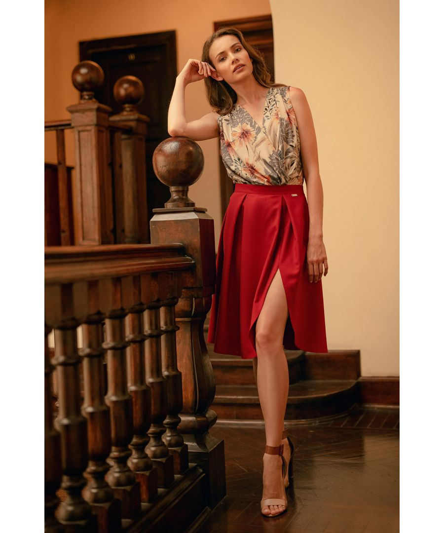 Image for Red Deep Red Midi Skirt With Pleats