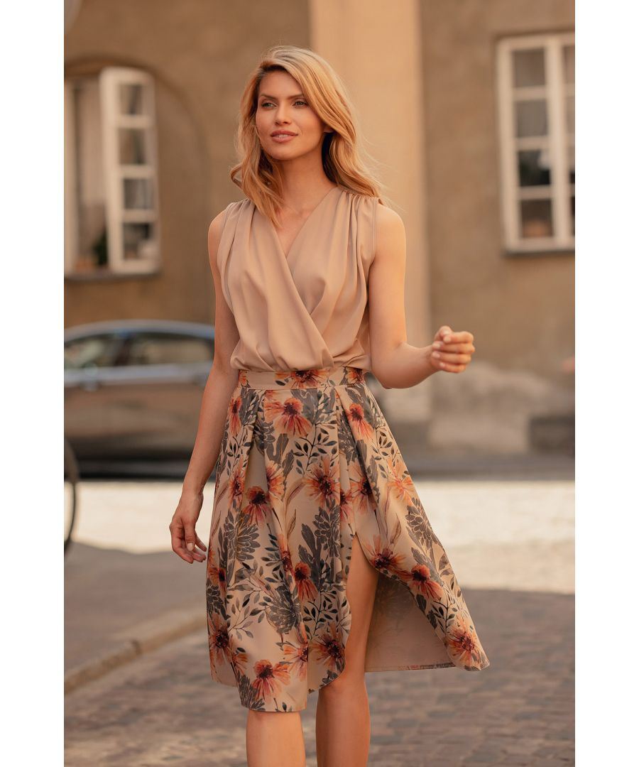 Image for Print Midi Skirt With Pleats