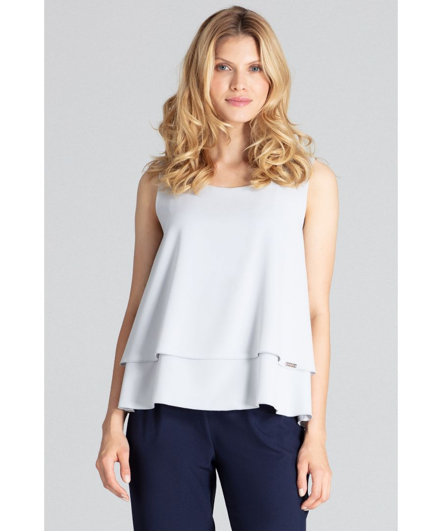 Image for A charming grey, two-layered sleeveless blouse with a semi-circular neckline, flared down