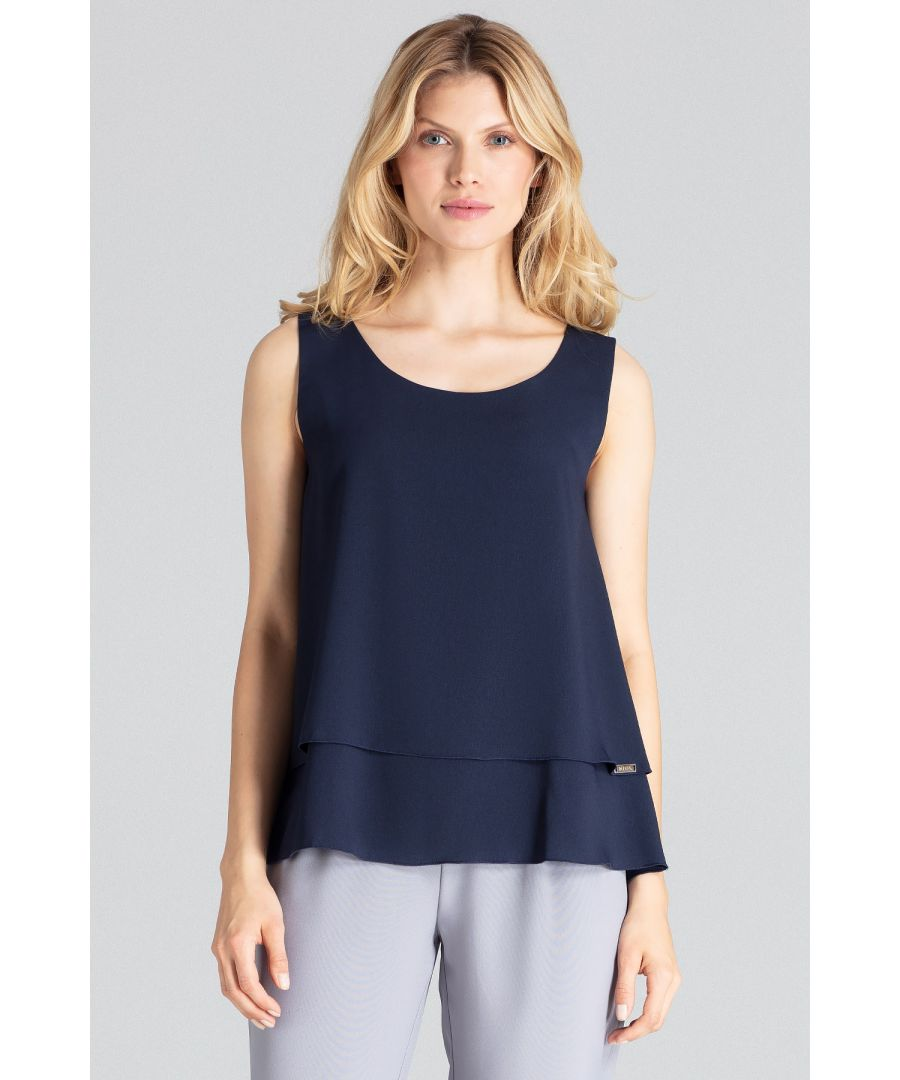 Image for A charming navy, two-layered sleeveless blouse with a semi-circular neckline, flared down