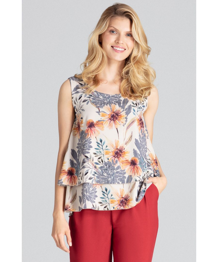 Image for A charming print, two-layered sleeveless blouse with a semi-circular neckline, flared down