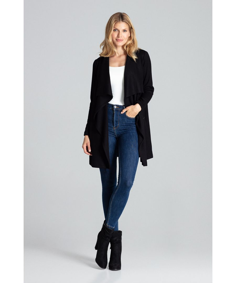 Image for Black loose, warm cardigan above the knee, without fastening with an asymmetrical front