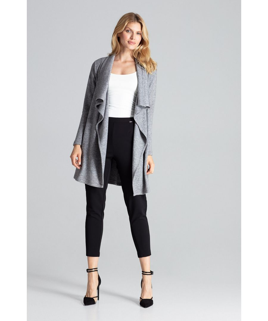 Image for Grey loose, warm cardigan above the knee, without fastening with an asymmetrical front
