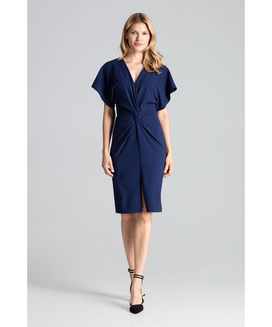 Image for Navy Midi Dress With Kimono Sleeve